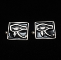 Picture of 21 x SQUARE STERLING SILVER CUFFLINKS UDJAT EYE OF RA WEDJAT EGYPT BLACK WHOLESALE-LOT