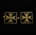 Picture of 21 x SQUARE MEDIEVAL BRONZE CUFFLINKS MALTESE CROSS MALTA BLACK WHOLESALE-LOT