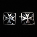 Picture of 21 x SQUARE MEDIEVAL STERLING SILVER CUFFLINKS MALTESE CROSS MALTA BLACK WHOLESALE-LOT