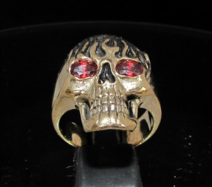 Picture of 21 x BRONZE MEN'S RINGS GHOSTRIDER SKULL ON FIRE RED CZ EYES WHOLESALE-LOT