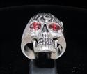 Picture of 21 x STERLING SILVER MEN'S RINGS GHOSTRIDER SKULL ON FIRE RED CZ EYES WHOLESALE-LOT