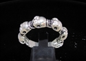 Picture of 21 x STERLING SILVER BAND RINGS 6 MINI SKULL BIKER 12 CZ EYES WHOLESALE-LOT