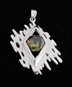 Picture of 21 x FANCY STERLING SILVER PENDANTS WITH ROUND OLIVE GREEN CZ WHOLESALE-LOT