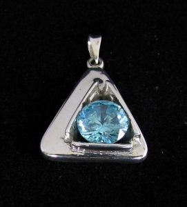 Picture of 21 x FANCY STERLING SILVER PENDANTS WITH ROUND BLUE CZ WHOLESALE-LOT