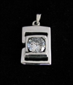 Picture of 21 x FANCY STERLING SILVER PENDANTS WITH ROUND WHITE CZ WHOLESALE-LOT