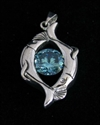 Picture of 21 x FANCY STERLING SILVER TWO FISHES PENDANTS WITH ROUND BLUE CZ WHOLESALE-LOT