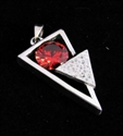 Picture of 21 x FANCY STERLING SILVER PENDANTS WITH ROUND RED CZ WHOLESALE-LOT