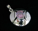 Picture of 21 x FANCY STERLING SILVER PENDANTS WITH ROUND PINK CZ WHOLESALE-LOT