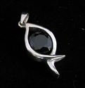 Picture of 21 x FANCY STERLING SILVER PENDANTS WITH ROUND BLACK CZ WHOLESALE-LOT