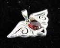 Picture of 21 x STERLING SILVER WINGS PENDANTS WITH OVAL SHAPED GARNET CABOCHON WHOLESALE-LOT