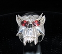 Picture of 21 x STERLING SILVER MEN'S RINGS VAMPIRE SKULL TWILIGHT DRACULA RED CZ EYES ANTIQUED WHOLESALE-LOT