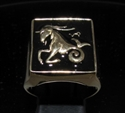 Picture of 21 x BRONZE MEN'S SIGNET RINGS CAPRICORN CAPRICORNUS ZODIAC BLACK WHOLESALE-LOT