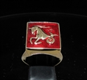 Picture of 21 x BRONZE MEN'S SIGNET RINGS CAPRICORN CAPRICORNUS ZODIAC DARK RED WHOLESALE-LOT