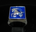 Picture of 21 x SQUARE STERLING SILVER MEN'S SIGNET RINGS CAPRICORN CAPRICORNUS ZODIAC BLUE WHOLESALE-LOT