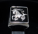 Picture of 21 x STERLING SILVER MEN'S SIGNET RINGS CAPRICORN CAPRICORNUS ZODIAC BLACK WHOLESALE-LOT