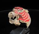 Picture of 21 x BRONZE MEN'S ANIMAL RINGS PREDATOR TIGER PANTHERA RED WHOLESALE-LOT