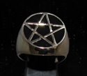 Picture of 21 x BRONZE MEN'S SIGNET RINGS CELTIC PENTACLE PENTAGRAM FLAT BLACK WHOLESALE-LOT