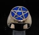 Picture of 21 x BRONZE MEN'S SIGNET RINGS CELTIC PENTACLE PENTAGRAM FLAT BLUE WHOLESALE-LOT