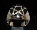 Picture of 21 x BRONZE MEN'S SIGNET RINGS CELTIC PENTACLE PENTAGRAM DOME BLACK WHOLESALE-LOT