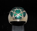 Picture of 21 x BRONZE MEN'S SIGNET RINGS CELTIC PENTACLE PENTAGRAM DOME DARK GREEN WHOLESALE-LOT