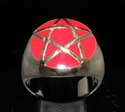 Picture of 21 x BRONZE MEN'S SIGNET RINGS CELTIC PENTACLE PENTAGRAM DOMED RED WHOLESALE-LOT