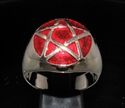 Picture of 21 x BRONZE MEN'S SIGNET RINGS CELTIC PENTACLE PENTAGRAM DOMED DARK RED WHOLESALE-LOT
