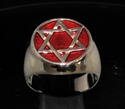 Picture of 21 x BRONZE MEN'S SIGNET RINGS CELTIC HEXAGON HEXAGRAM STAR OF DAVID FLAT DARK RED WHOLESALE-LOT