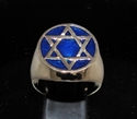 Picture of 21 x BRONZE MEN'S SIGNET RINGS CELTIC HEXAGON HEXAGRAM FLAT DARK BLUE WHOLESALE-LOT