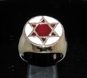Picture of 21 x BRONZE MEN'S SIGNET RINGS CELTIC HEXAGON HEXAGRAM FLAT BURGUNDY AND WHITE WHOLESALE-LOT