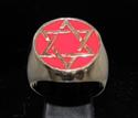 Picture of 21 x BRONZE MEN'S SIGNET RINGS CELTIC HEXAGON HEXAGRAM STAR OF DAVID FLAT RED WHOLESALE-LOT