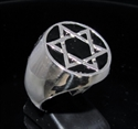 Picture of 21 x STERLING SILVER MEN'S SIGNET RINGS CELTIC HEXAGON HEXAGRAM STAR OF DAVID FLAT BLACK WHOLESALE-LOT