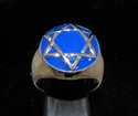 Picture of 21 x BRONZE MEN'S SIGNET RINGS CELTIC HEXAGON HEXAGRAM DOME BLUE WHOLESALE-LOT