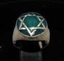 Picture of 21 x BRONZE MEN'S SIGNET RINGS CELTIC HEXAGON HEXAGRAM DOME DARK GREEN WHOLESALE-LOT