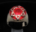 Picture of 21 x BRONZE MEN'S SIGNET RINGS CELTIC STAR OF DAVID HEXAGRAM DOMED DARK RED WHOLESALE-LOT
