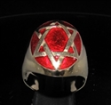 Picture of 21 x BRONZE MEN'S SIGNET RINGS CELTIC HEXAGON HEXAGRAM STAR OF DAVID DARK RED WHOLESALE-LOT