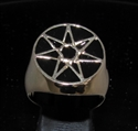 Picture of 21 x BRONZE MEN'S SIGNET RINGS CELTIC HEPTAGON 7 POINT STAR HEPTAGRAM FLAT BLACK WHOLESALE-LOT