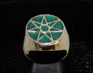 Backmetal rings more 21 x bronze mens signet rings picture of 21 x bronze mens signet rings heptagon 7 point star heptagram flat dark green aloadofball Choice Image