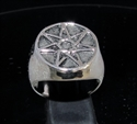 Picture of 21 x STERLING SILVER MEN'S SIGNET RINGS HEPTAGON 7 POINT STAR HEPTAGRAM ANTIQUED WHOLESALE-LOT