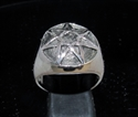 Picture of 21 x STERLING SILVER MEN'S SIGNET RINGS HEPTAGON 7 POINT STAR HEPTAGRAM ANTIQUED DOME WHOLESALE-LOT