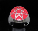 Picture of 21 x STERLING SILVER MEN'S SIGNET RINGS HEPTAGON 7 POINT STAR HEPTAGRAM DOME RED WHOLESALE-LOT