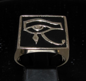 Picture of 21 x BRONZE MEN'S SIGNET RINGS UDJAT ALL SEEING EYE OF RA EGYPT BLACK WHOLESALE-LOT