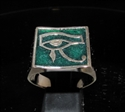 Picture of 21 x BRONZE MEN'S SIGNET RINGS UDJAT EYE OF RA EGYPT DARK GREEN WHOLESALE-LOT