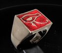 Picture of 21 x BRONZE MEN'S SIGNET RINGS UDJAT ALL SEEING EYE OF RA EGYPT DARK RED WHOLESALE-LOT