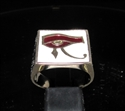 Picture of 21 x BRONZE MEN'S SIGNET RINGS UDJAT EYE OF RA EGYPT WHITE AND BURGUNDY WHOLESALE-LOT