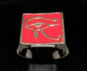 Picture of 21 x BRONZE MEN'S SIGNET RINGS UDJAT WEDJAT ALL SEEING EYE OF RA RED WHOLESALE-LOT