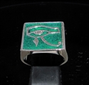 Picture of 21 x STERLING SILVER MEN'S SIGNET RINGS UDJAT EYE OF RA EGYPT DARK GREEN WHOLESALE-LOT