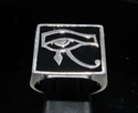 Picture of 21 x STERLING SILVER MEN'S SIGNET RINGS UDJAT ALL SEEING EYE OF RA EGYPT BLACK WHOLESALE-LOT