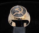 Picture of 21 x BRONZE MEN'S SIGNET RINGS COMMUNIST HAMMER AND SICKLE USSR CCCP ANTIQUED WHOLESALE-LOT