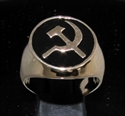 Picture of 21 x BRONZE MEN'S SIGNET RINGS COMMUNIST HAMMER AND SICKLE USSR CCCP BLACK WHOLESALE-LOT
