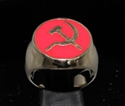 Picture of 21 x BRONZE MEN'S SIGNET RINGS COMMUNIST HAMMER AND SICKLE USSR CCCP RED WHOLESALE-LOT
